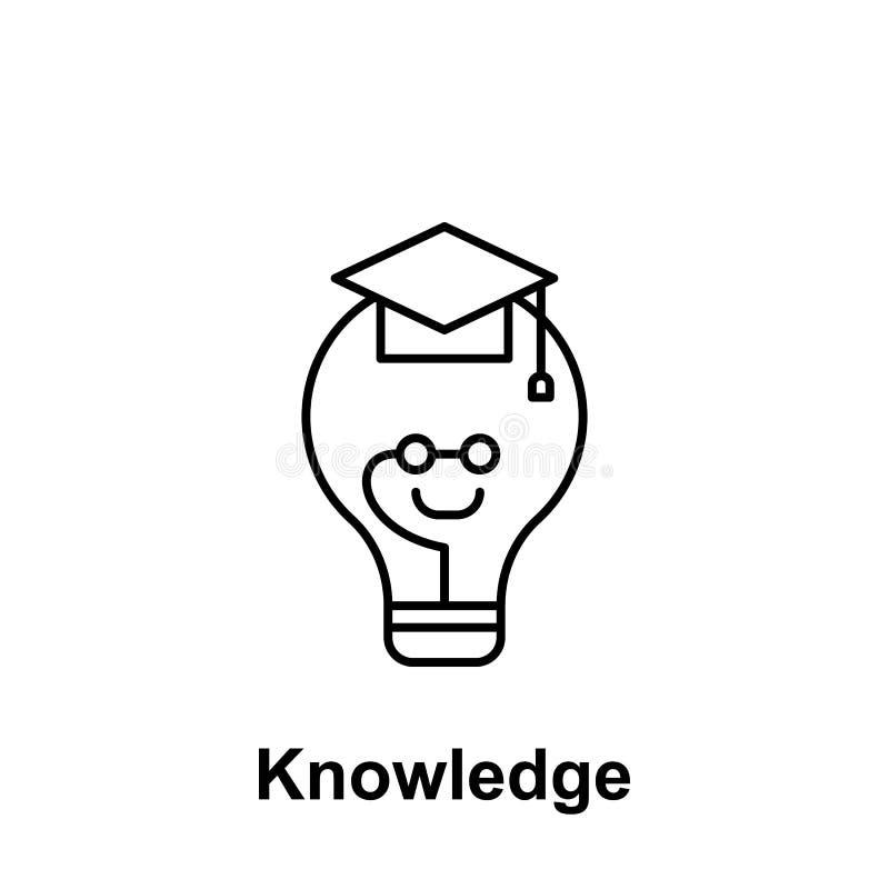 Lampadina, icona graduata Elemento del nome creativo del witn dell'icona del thinkin Linea sottile icona per progettazione del si illustrazione vettoriale