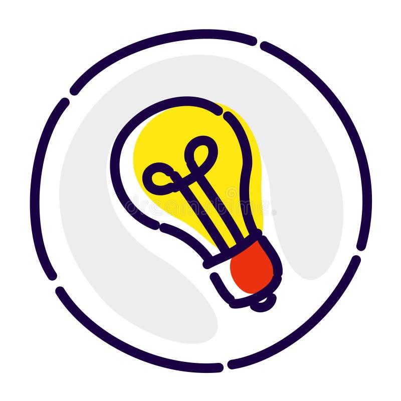 Lampadina, logo esclusivo, emblema Icona piana di vettore L'immagine è isolata su fondo bianco Lampadina come simbolo dell'idea royalty illustrazione gratis