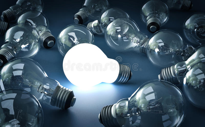 Lampadina luminosa illustrazione di stock
