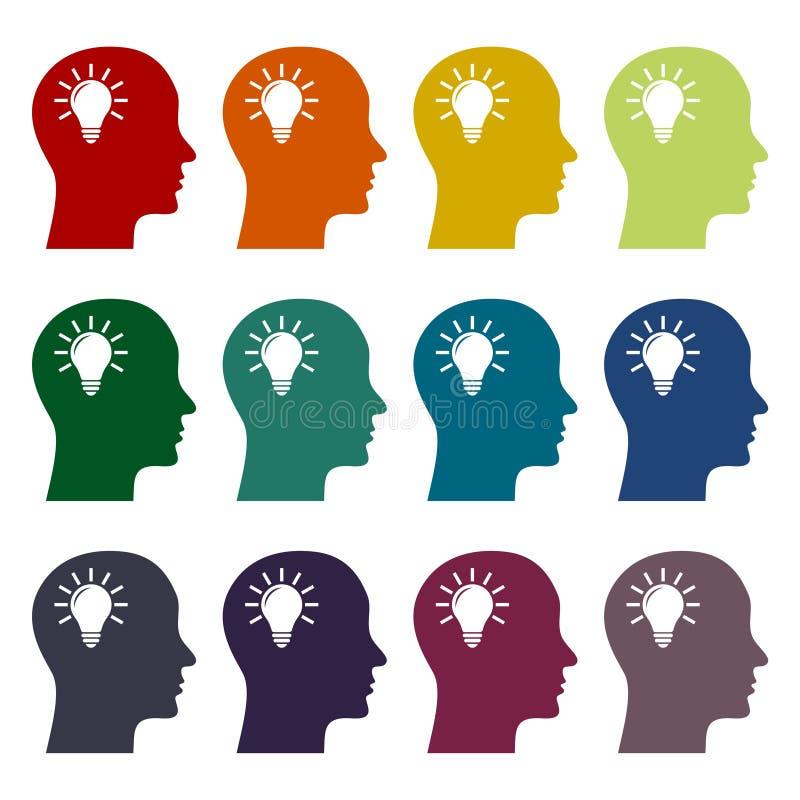 Lampadina nelle icone cape messe, testa di idea, immagine grafica del concetto della lampadina illustrazione vettoriale