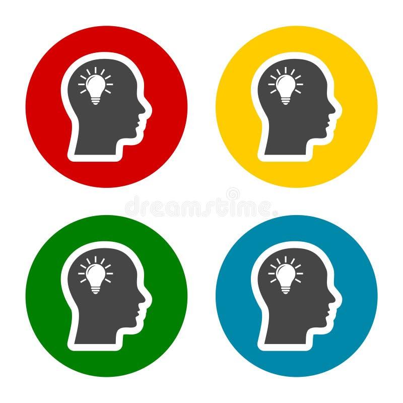 Lampadina nelle icone cape messe, testa di idea, immagine grafica del concetto della lampadina royalty illustrazione gratis