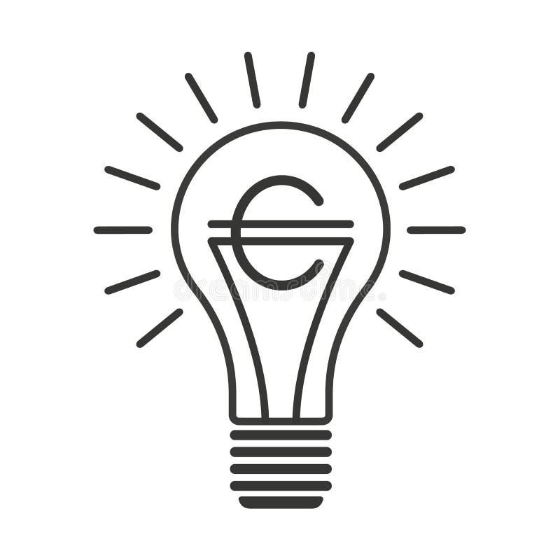 Lampadina nera di vettore del profilo con l'euro illustrazione vettoriale