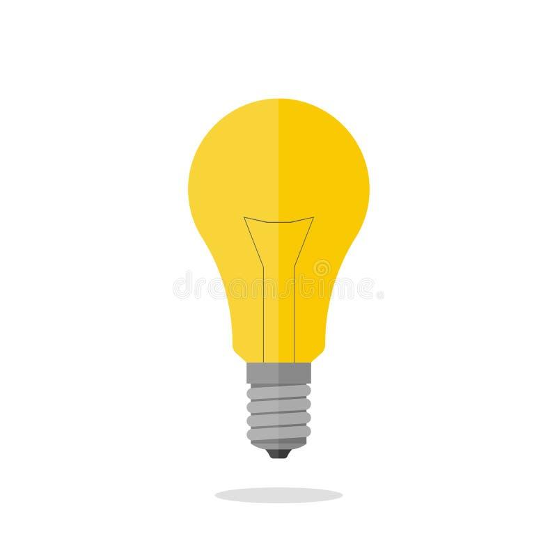 Lampadina su priorità bassa bianca isolata Simbolo dell'idea Illustrazione di vettore illustrazione di stock