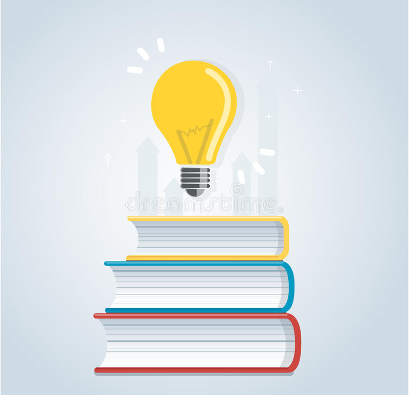Lampadina sull'icona dei libri concetti di istruzione, progettazione dell'illustrazione di vettore illustrazione vettoriale
