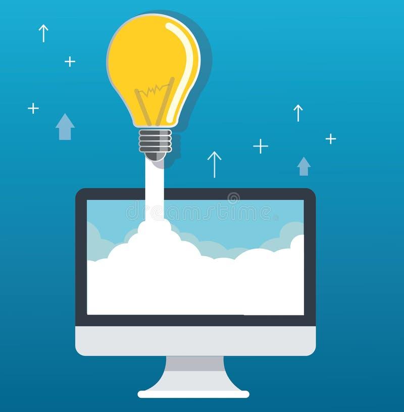 lampadina sull'illustrazione startup di concetto del computer e della nuvola royalty illustrazione gratis