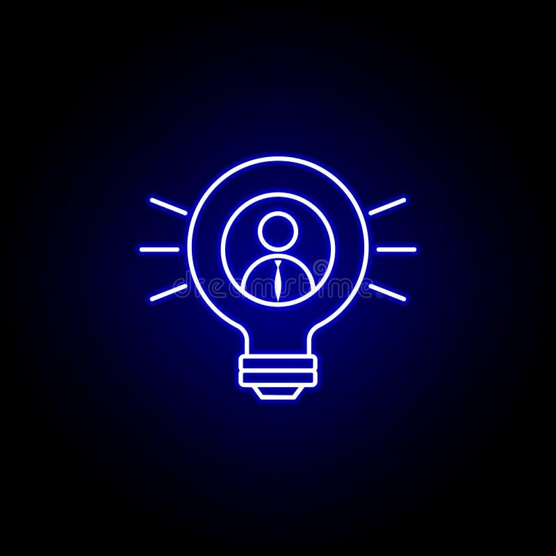 Lampadina, uomo d'affari, icona di idea Elementi dell'illustrazione delle risorse umane nell'icona al neon di stile I segni ed i  royalty illustrazione gratis