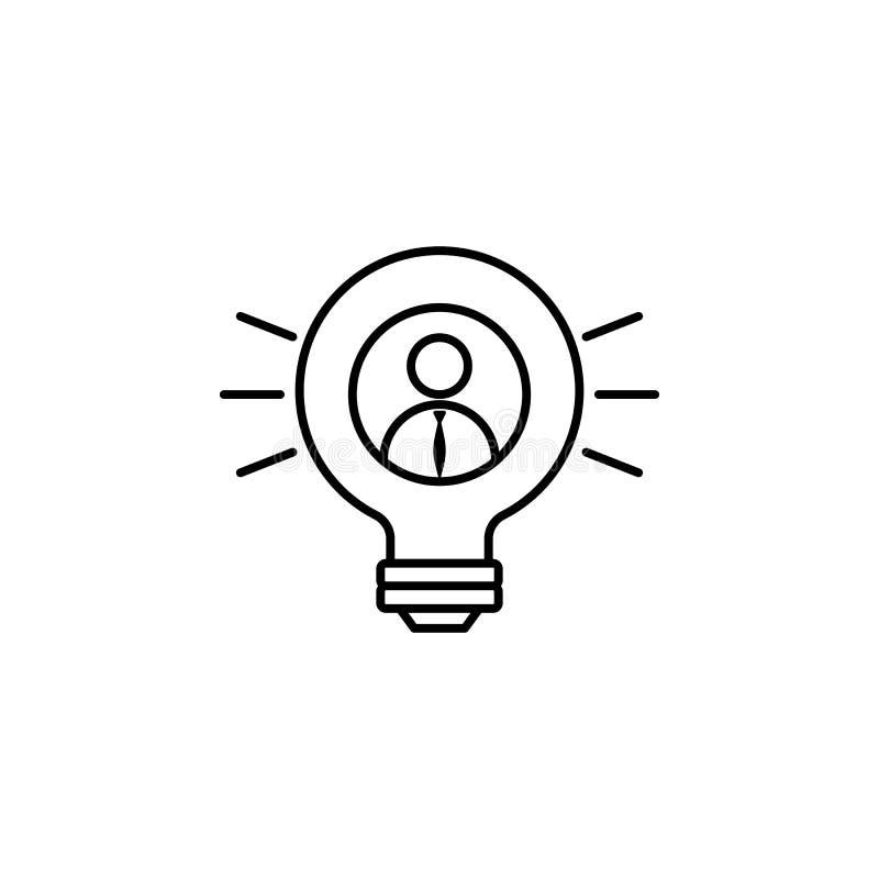 Lampadina, uomo d'affari, icona di idea su fondo bianco Può essere usato per il web, il logo, il app mobile, UI, UX illustrazione vettoriale