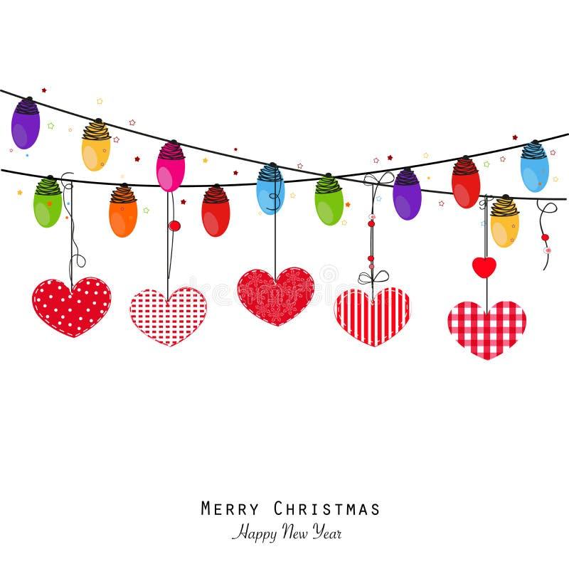 Lampadina variopinta e cuori di Natale Cartolina d'auguri del buon anno illustrazione di stock