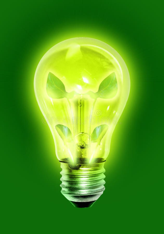 Lampadina verde illustrazione di stock