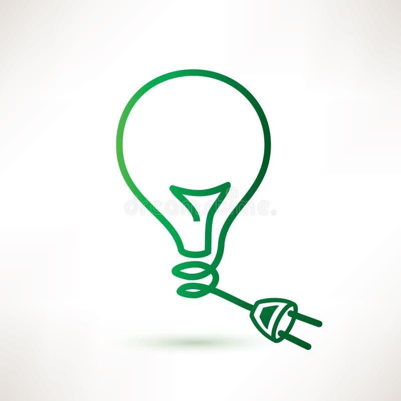 Lampadina verde con la spina illustrazione vettoriale