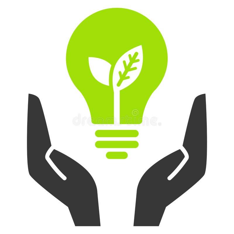 Lampadina verde di ecologia in mani aperte illustrazione vettoriale