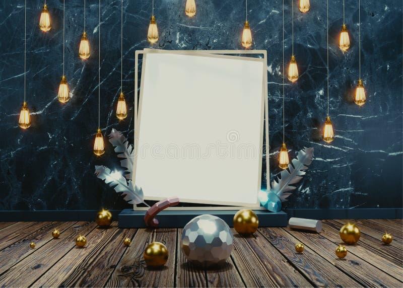 Lampadine che appendono sulla parete blu di lerciume con la struttura vuota della foto illustrazione vettoriale