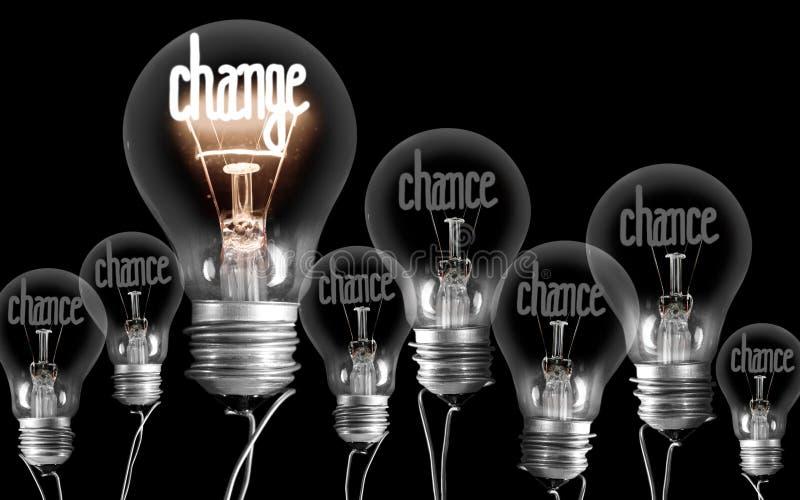 Lampadine con il concetto del cambiamento e di probabilità immagini stock libere da diritti