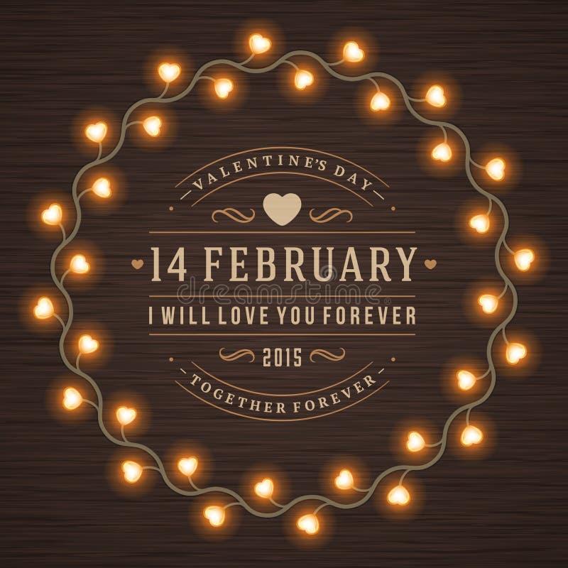 Lampadine d'ardore della decorazione di San Valentino felice illustrazione di stock