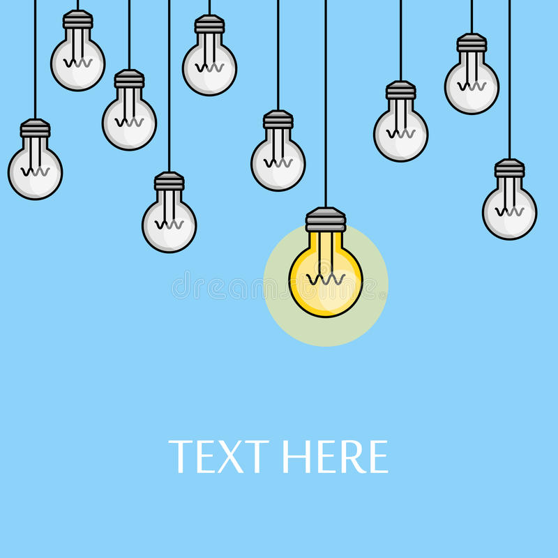 Lampadine d'attaccatura con una accesa illustrazione creativa di idea Soluzione di problema linea stile Fondo di ispirazione illustrazione vettoriale