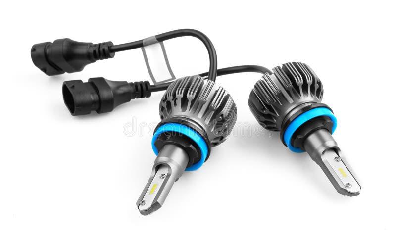 Lampadine del LED per l'automobile isolata su bianco fotografia stock libera da diritti
