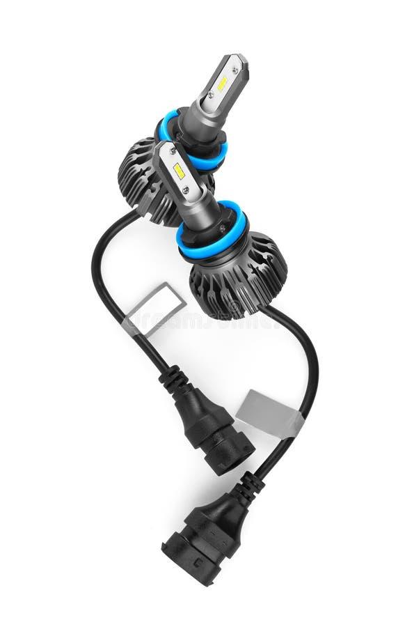 Lampadine del LED per l'automobile isolata su bianco fotografia stock