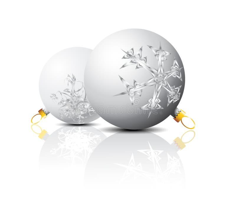 Lampadine di natale bianco con gli ornamenti dei fiocchi di neve illustrazione vettoriale
