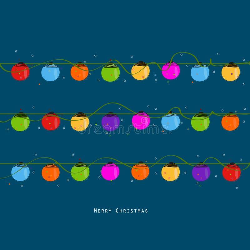 Lampadine di Natale nel vettore della cartolina d'auguri di notte illustrazione di stock