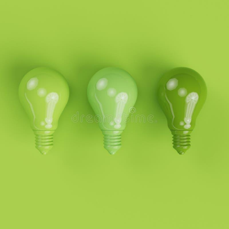 Lampadine di pantone verde differente dell'ombra su fondo verde immagine stock