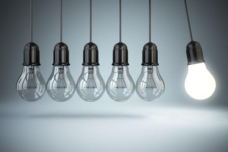 Lampadine e moto perpetuo Concetto di creatività di idea o royalty illustrazione gratis