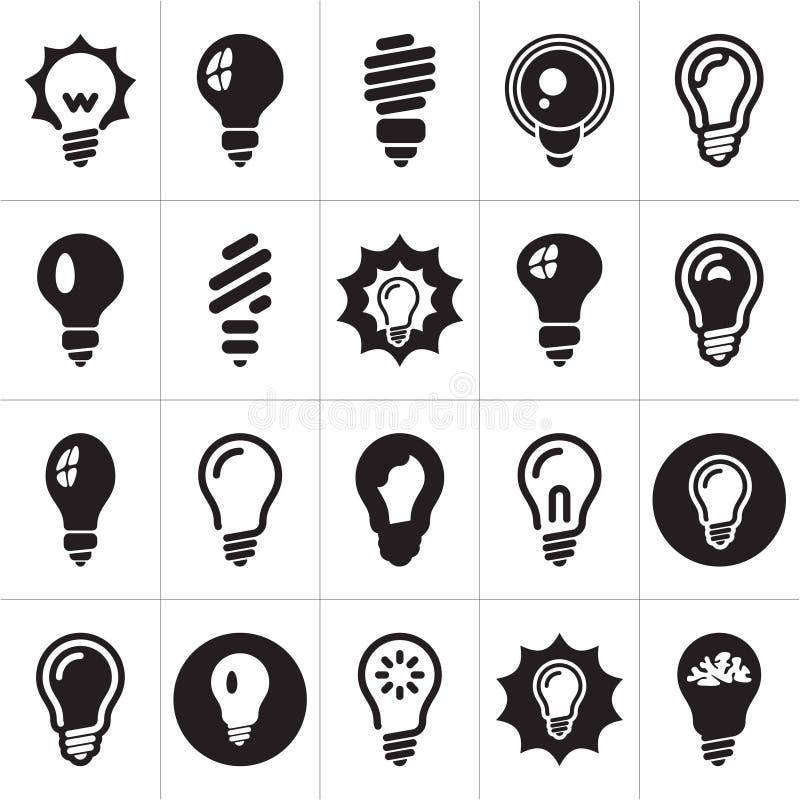 Lampadine. Insieme dell'icona della lampadina illustrazione di stock