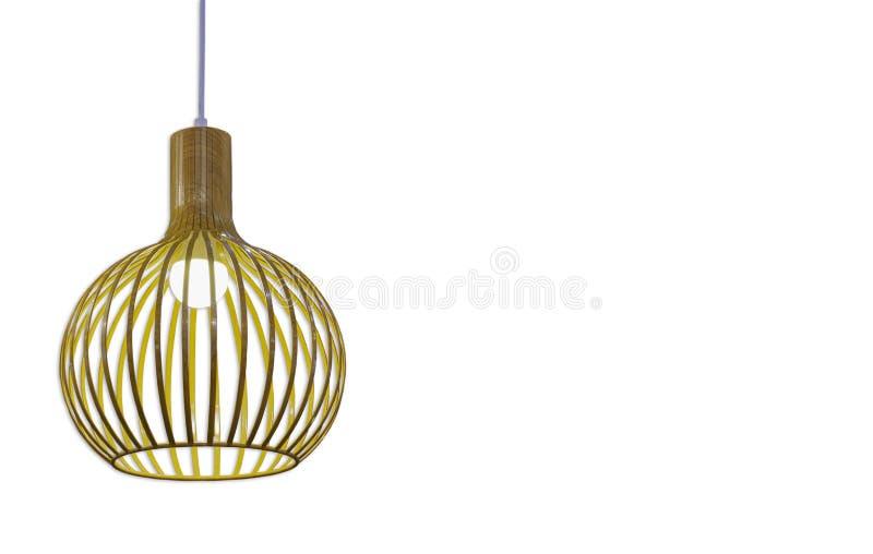 Lampadine rotonde isolate fatte di legno per illuminazione su un wh immagine stock