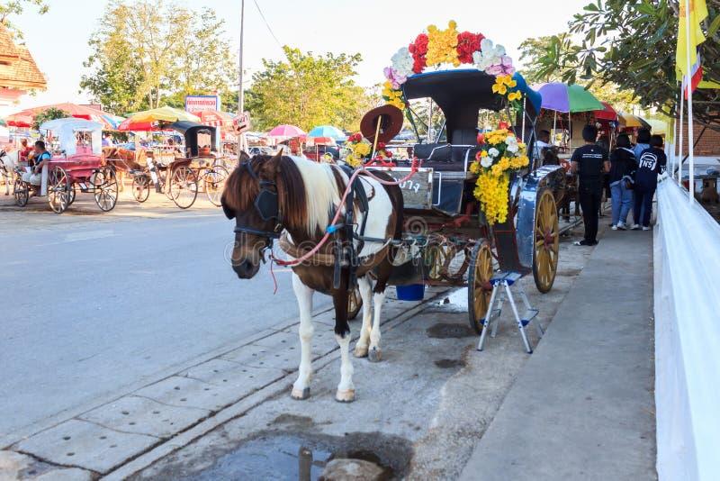 Horse Carriage at Wat Phra That Lampang Luang. royalty free stock photography