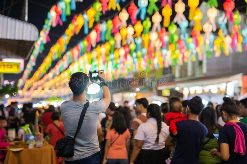 LAMPANG, THAILAND - On November 22, 2018: The photographer took. A picture Show and Light colorful at Loy Krathong festival royalty free stock photography