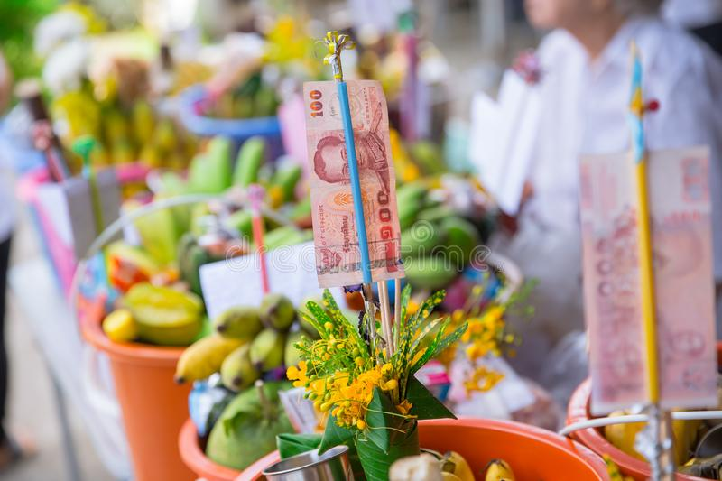 Tan Kuay Salak Festival- Northern Thai ritual that people will give foodstuff and valuable things to the temple and monks royalty free stock images