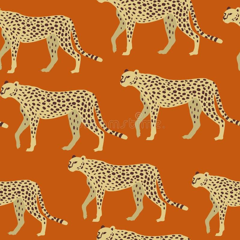Lampart, gepard powierzchni wzór, pantera na Pomarańczowym powtórka wzorze dla Tekstylnego projekta, tkanina druk Pakuje, Stacjon ilustracja wektor
