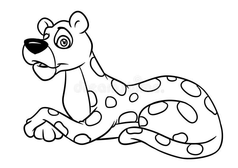 Lampart kłama zwierzęcej charakter kreskówki kolorystyki ilustracyjną stronę ilustracja wektor