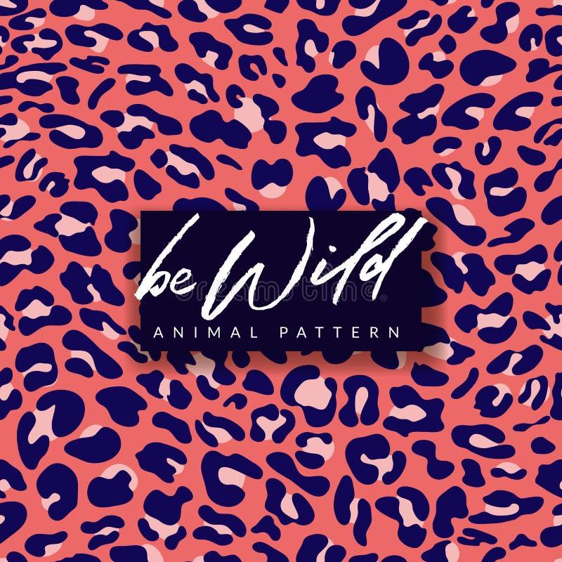 lamparta bezszwowy deseniowy Modnej mody druku tekstylny projekt w menchiach i błękitów kolorach Zwierz?cy futerkowy t?o ilustracja wektor