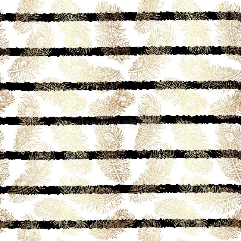 Lampasy Deseniują z Złocistymi piórkami ilustracja wektor
