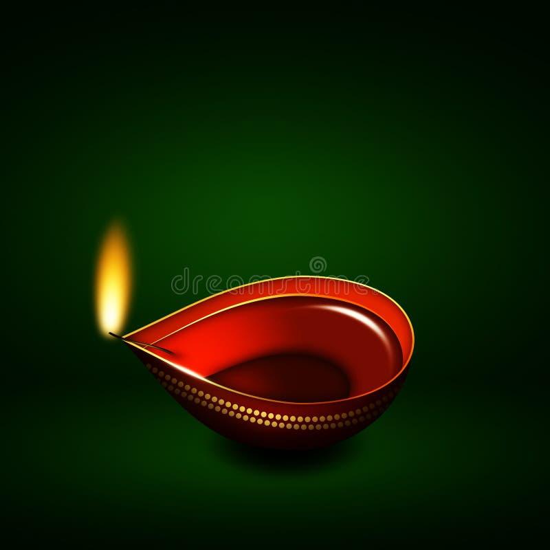 Lampe à pétrole de Diwali au-dessus de fond vert