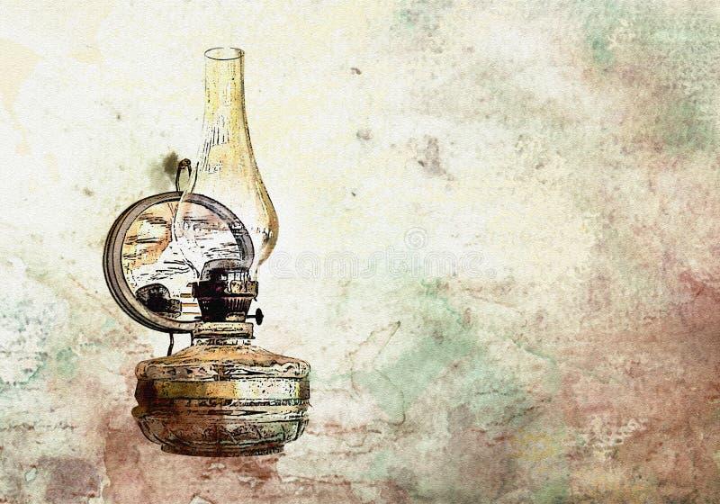Lampe à pétrole de vintage d'aquarelle vieille illustration de vecteur