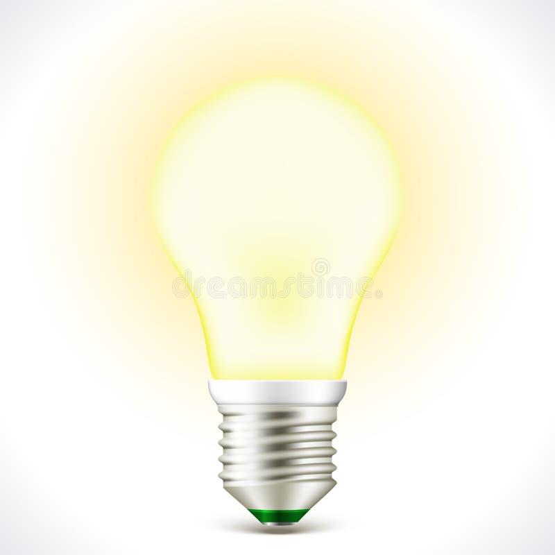 Lampe économiseuse d'énergie allumée d'ampoule illustration stock
