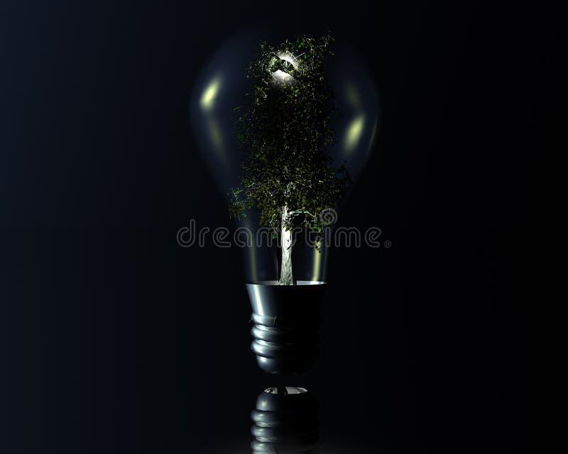 Lampe 3D mit Baum lizenzfreie abbildung