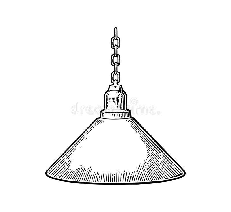 Lampe accrochante avec la chaîne Gravure noire de vintage illustration stock