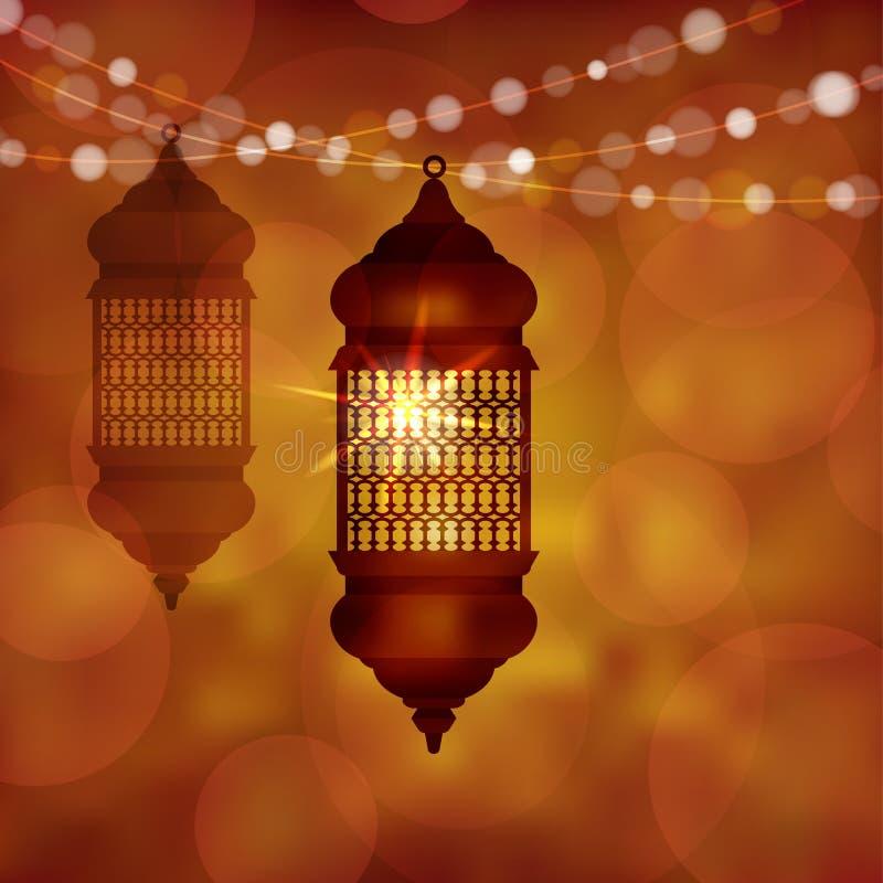 Lampe arabe lumineuse, lanterne avec de la ficelle des lumières Fond brouillé moderne d'illustration de vecteur pour des musulman illustration libre de droits