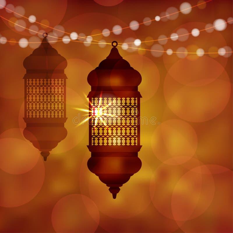 Lampe arabe lumineuse, lanterne avec de la ficelle des lumières Fond brouillé moderne d'illustration de vecteur pour des musulman illustration de vecteur