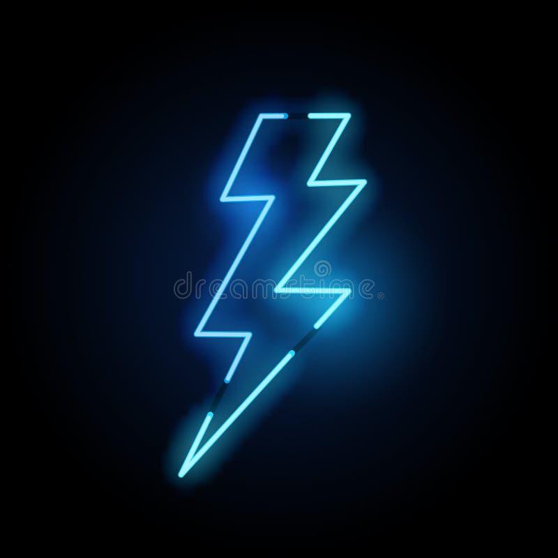 Lampe au néon bleue de boulon de foudre illustration libre de droits