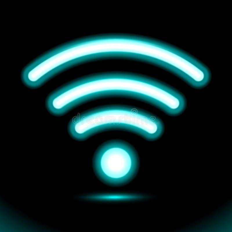 Lampe au néon bleue de zone de Wi-Fi d'icône, signe, bouton pour la conception de présentation sur le fond noir Objet fluorescent illustration libre de droits