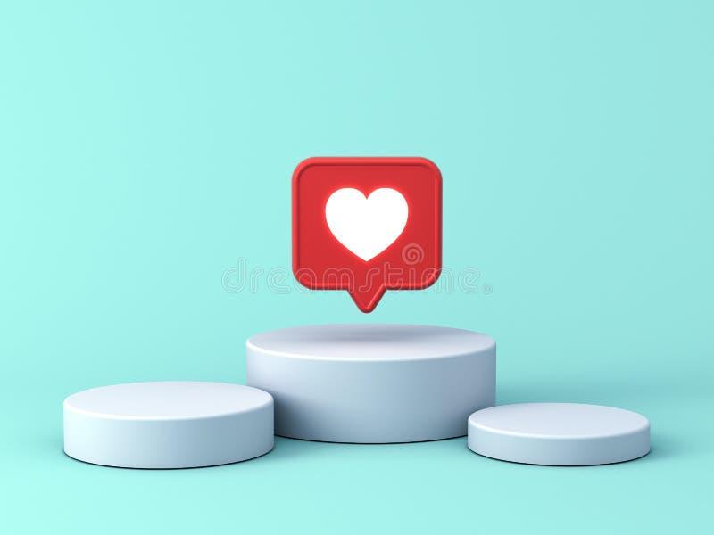 lampe au néon d'avis social des médias 3d comme l'icône de coeur dans la goupille rouge de bulle de la parole au-dessus du podium illustration stock