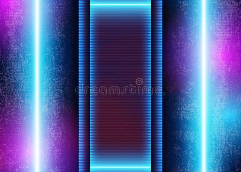lampe au néon 3D sur le fond futuriste grunge illustration stock