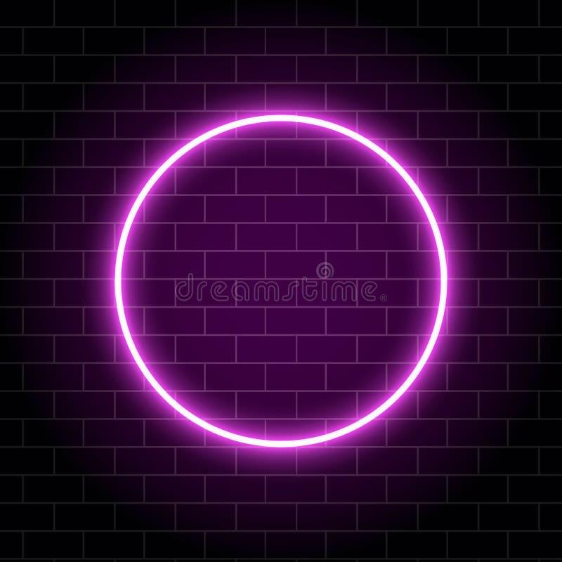 Lampe au néon de cercle d'isolement sur le mur de briques Ampoule rougeoyante rose de cercle Bannière de scintillement de cercle  illustration libre de droits