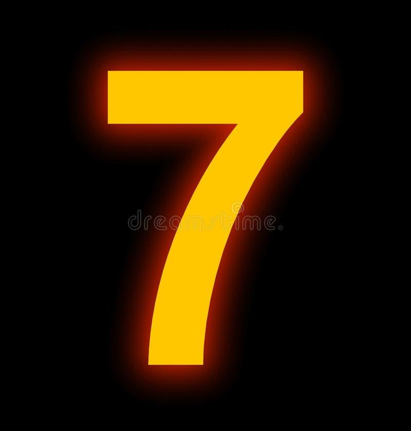 Lampe au néon du numéro 7 complètement d'isolement sur le noir illustration libre de droits