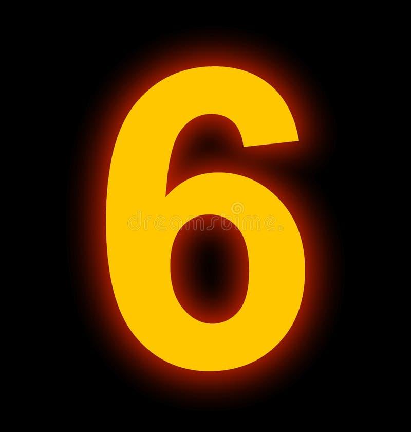 Lampe au néon du numéro 6 complètement d'isolement sur le noir illustration stock