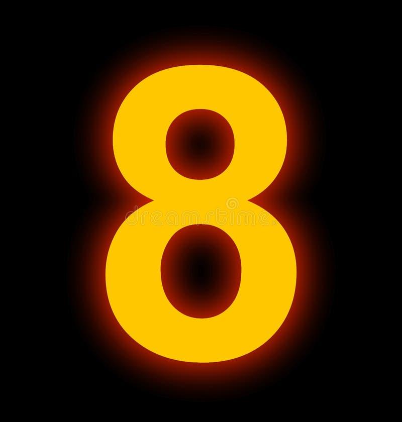 Lampe au néon du numéro 8 complètement d'isolement sur le noir illustration libre de droits