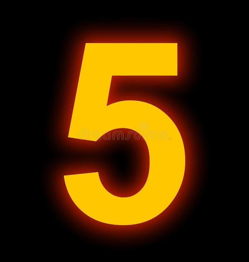 Lampe au néon du numéro 5 complètement d'isolement sur le noir illustration de vecteur